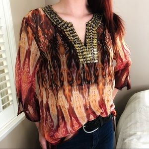 3 LEFT S-L Embroidered Bronze Beaded Red Pink Top